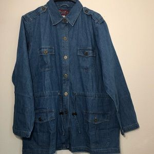 Denim co denim jacket cinched waist women's large